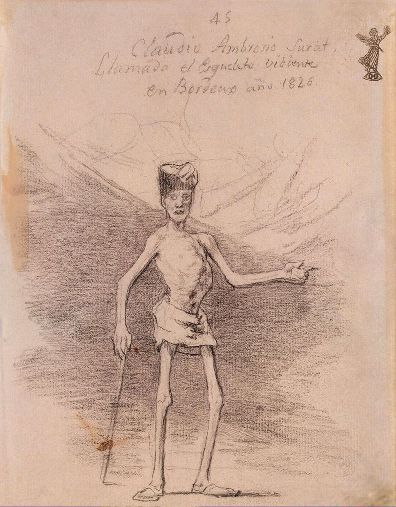 Stock Photo: 4266-4318 Illustration of semi-dress man by Francisco de Goya, pencil on paper, between 1824 and 1828, 1746-1828, Russia, St. Petersburg, State Hermitage, 19, 2x14, 7