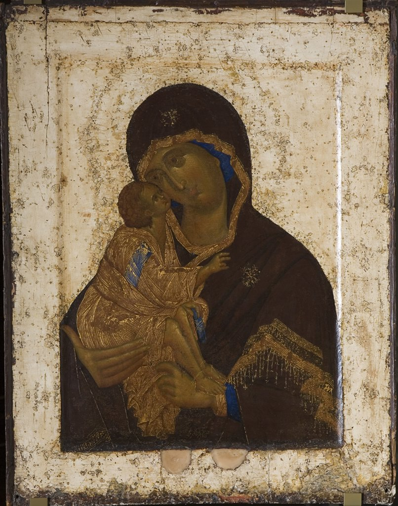 Icon with Virgin Mary and Jesus Christ by Theophanes the Greek, tempera on panel, 1380s-1390s, circa 1340-circa 1410, Russia, Moscow, State Tretyakov Gallery, 86x68 : Stock Photo