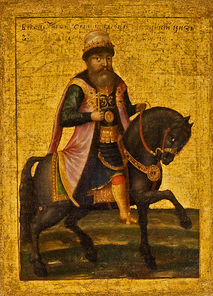 Stock Photo: 4266-4413 Portrait of Tsar riding horse by Anonymous Artist, Oil on canvas, 1670s, Russia, Moscow, State History Museum,