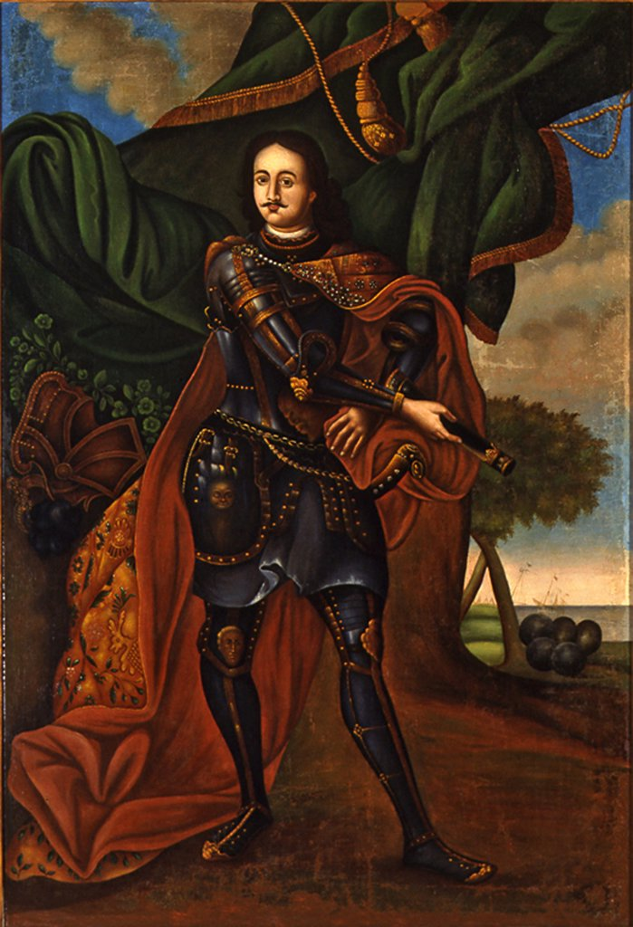 Stock Photo: 4266-4436 Portrait of Peter I Alexeyevich by Russian Master, Oil on canvas, 1700s, Russia, Moscow, State History Museum,