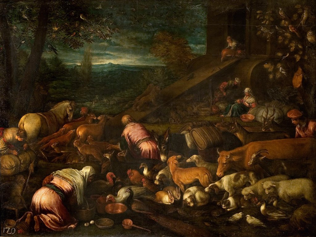 Noah's Ark by Bassano il vecchio, Jacopo, Oil on canvas, Mannerism, circa 1510-1592, Russia, Saratov, State A. Radishchev Art Museum, 133x187 : Stock Photo