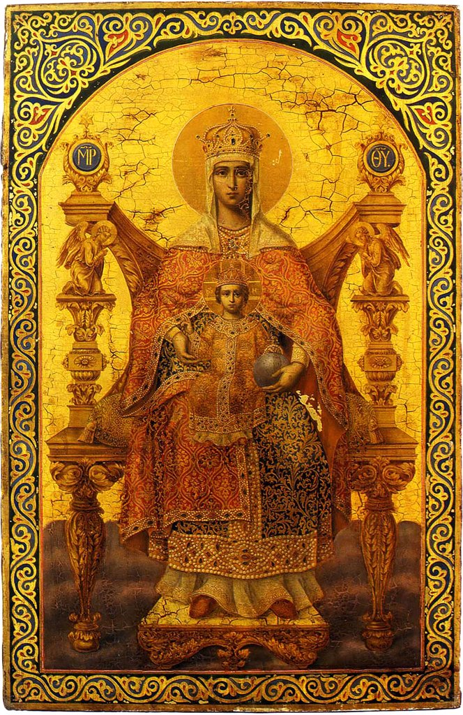 Stock Photo: 4266-4540 Russian icon with Virgin Mary and Jesus Christ as child by Ilya Volkov, tempera on panel, 1854, active 1850s, Russia, Palekh, Museum of Palekh Russian Lacquer Art, 85x56