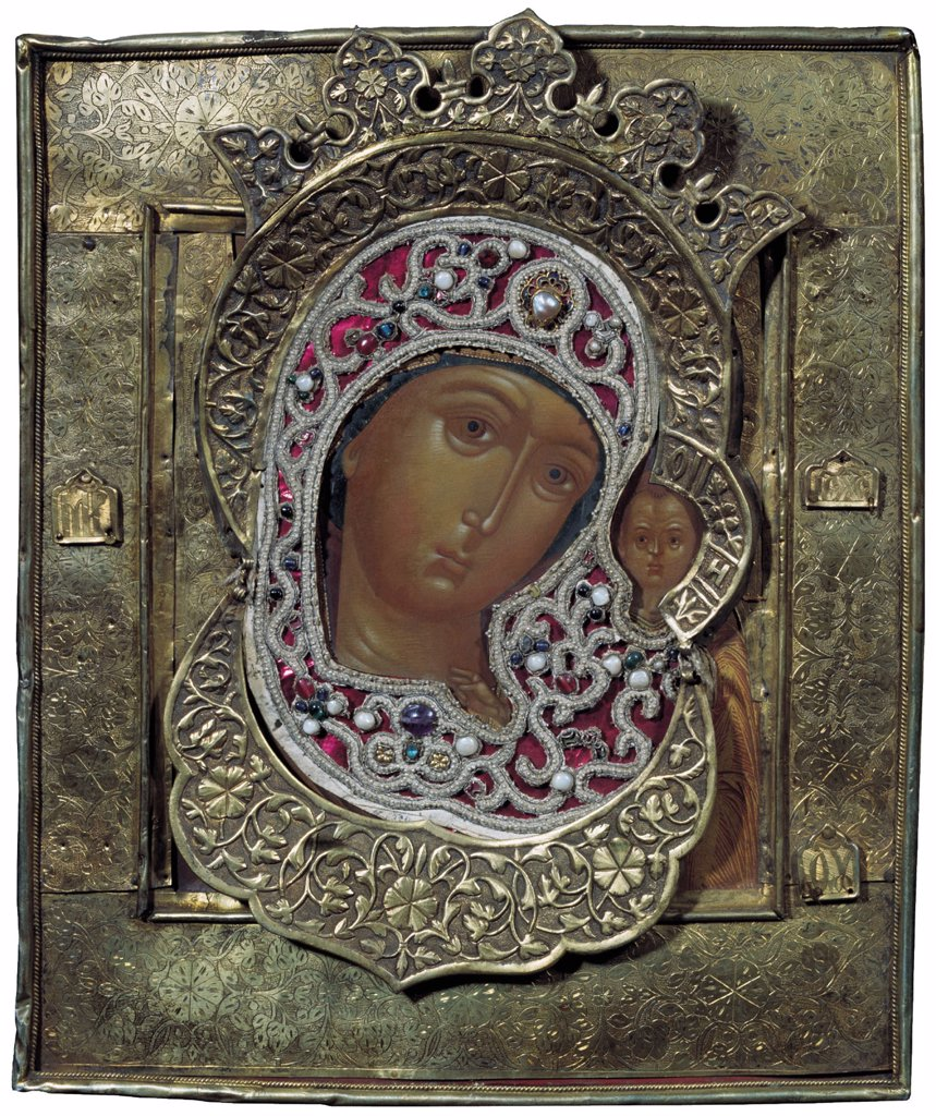 Russian icon with Virgin Mary and Jesus Christ by anonymous painter, tempera on panel, 17th century, Russia, Solvychegodsk, Museum of History and Art, 33, 5x28 : Stock Photo
