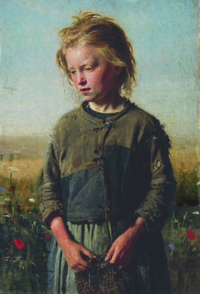 Portrait of poor girl by Ilya Yefimovich Repin, oil on canvas, 1874, 1844-1930, Russia, Irkutsk, State Art Museum, 74x50 : Stock Photo