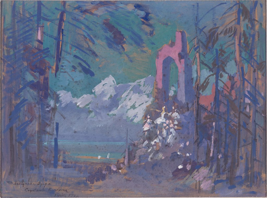 Stock Photo: 4266-4699 Swan Lake by Konstantin Alexeyevich Korovin, Watercolour on cardboard, 1930, 1861-1939, Private Collection, 58, 3x69, 8