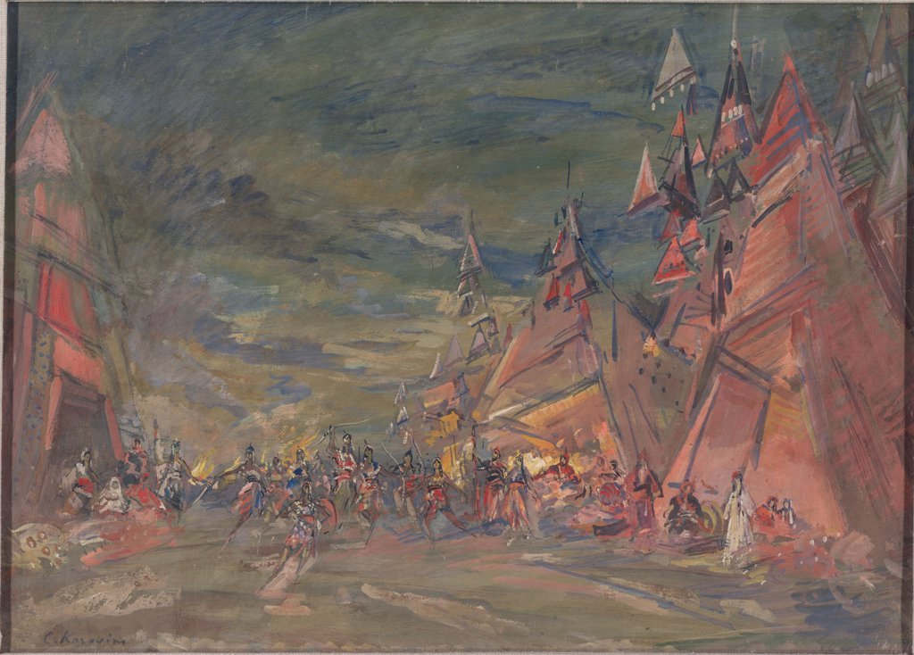 Stock Photo: 4266-4700 Tale of Igor's Campaign by Konstantin Alexeyevich Korovin, Oil on cardboard, 1917, 1861-1939, Private Collection, 47x60, 2