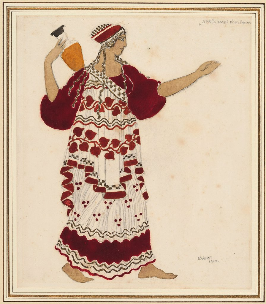 Woman carrying bottle by Leon Bakst, Pencil, watercolour, gold on paper, 1912, 1866-1924, Private Collection, 48, 2x44 : Stock Photo