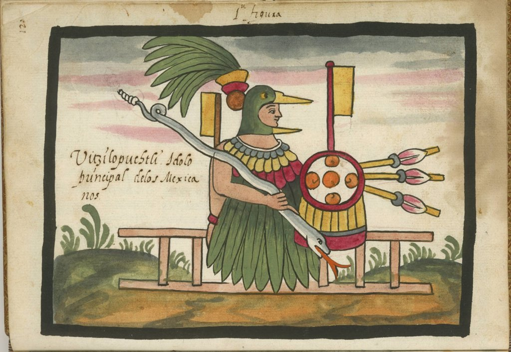 Stock Photo: 4266-4725 Fire god by Anonymous artist, Watercolor on parchment, 1586, Usa, Rhode Island, John Carter Brown Library,