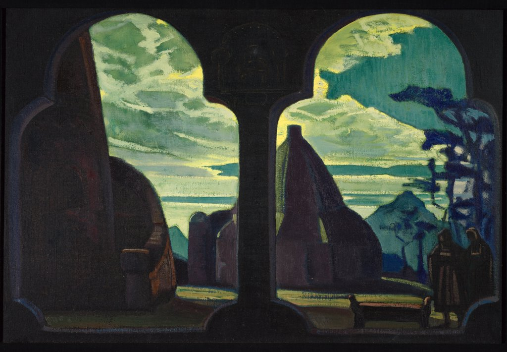 Stock Photo: 4266-4729 Roerich, Nicholas (1874-1947) Private Collection 1912 49x75 Oil on canvas