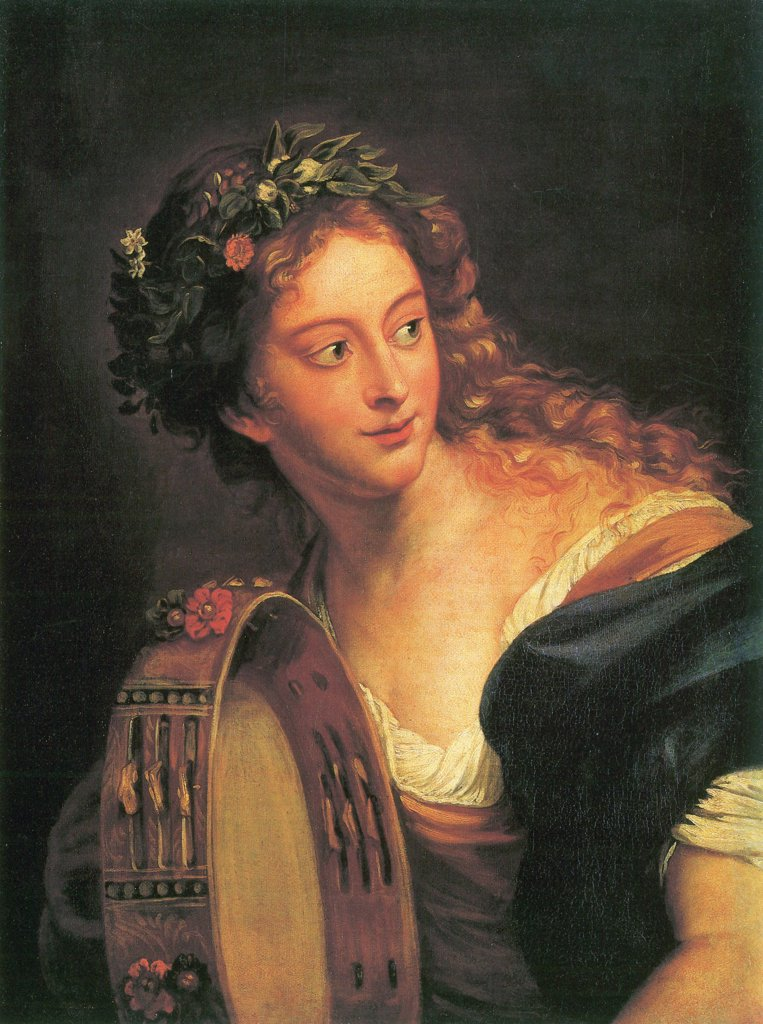 Portrait of young woman with tambourine by Anna Dorothea Therbusch-Lisiewska, Oil on canvas, 1765, 1721-1782, Russia, St. Petersburg, State Hermitage, 69, 5x53 : Stock Photo