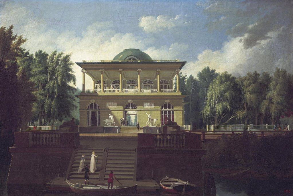 View of Stroganov family summer house in Saint Petersburg by Andrei Nikiforovich Voronikhin, oil on canvas, 1797, 1759-1814, Russia, St. Petersburg, State Russian Museum, 67, 5x100, 5 : Stock Photo