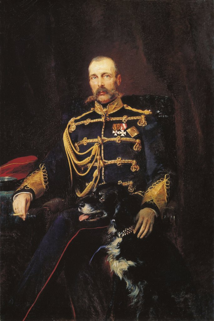 Stock Photo: 4266-4841 Portrait of Tsar Alexander II by Konstantin Yegorovich Makovsky, oil on canvas, 1881, 1839-1915, Russia, Moscow, State Tretyakov Gallery, 164x108