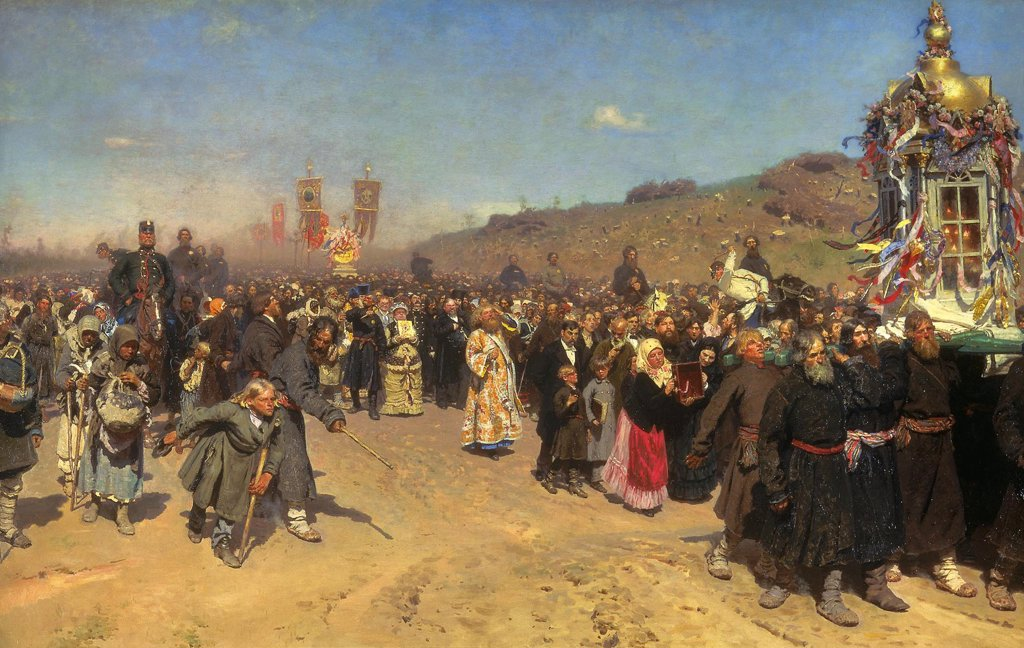 Stock Photo: 4266-4855 Religious parade in Russia by Ilya Yefimovich Repin, oil on canvas, 1883, 1844-1930, Russia, St. Petersburg, State Russian Museum, 175x280
