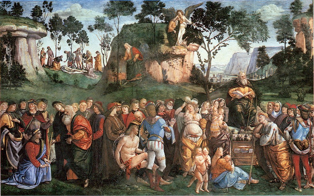 Ten Commandments by Luca Signorelli, Fresco, 1482-1484, circa 1441-1523, Vatican, The Sistine Chapel : Stock Photo