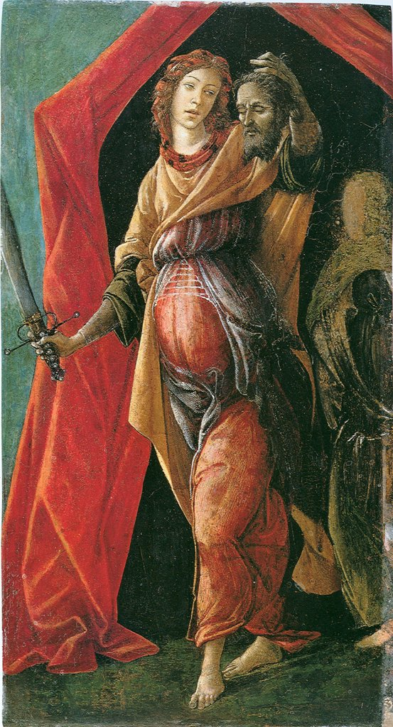 Judith with Holofernes head by Sandro Botticelli, Tempera on panel, circa 1497, 1445-1510, Netherlands, Amsterdam, Rijksmuseum, 36, 5x20 : Stock Photo