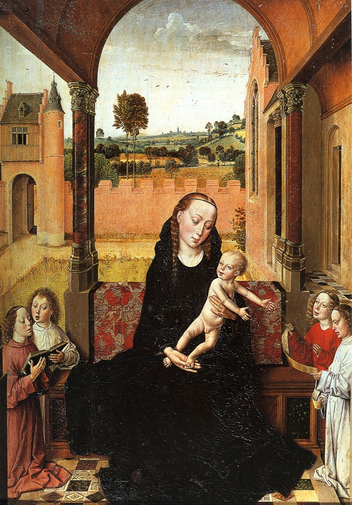 Stock Photo: 4266-4907 Madonna with child by Dirk Bouts, Oil on wood, circa 1470, 1410/20-1475, Spain, Granada, Museo de la Capilla Real, 53, 8x39