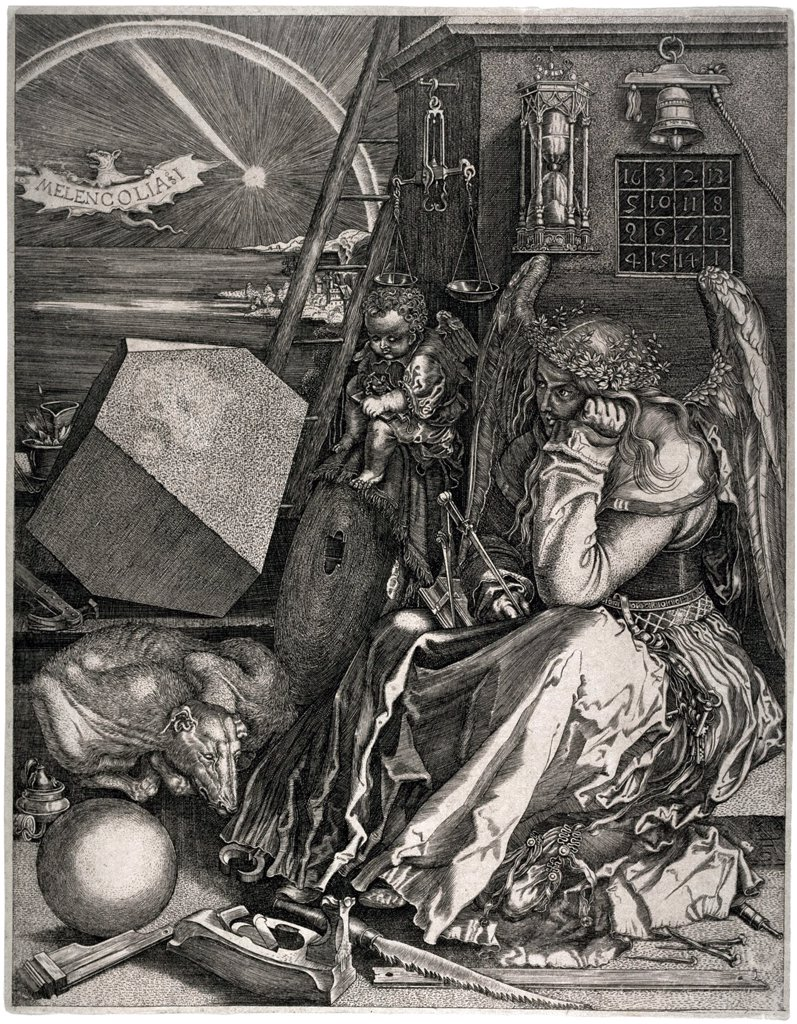 Melancholia by Albrecht Durer, Copper engraving, 1514, 1471-1528, Private Collection, 24x18, 6 : Stock Photo