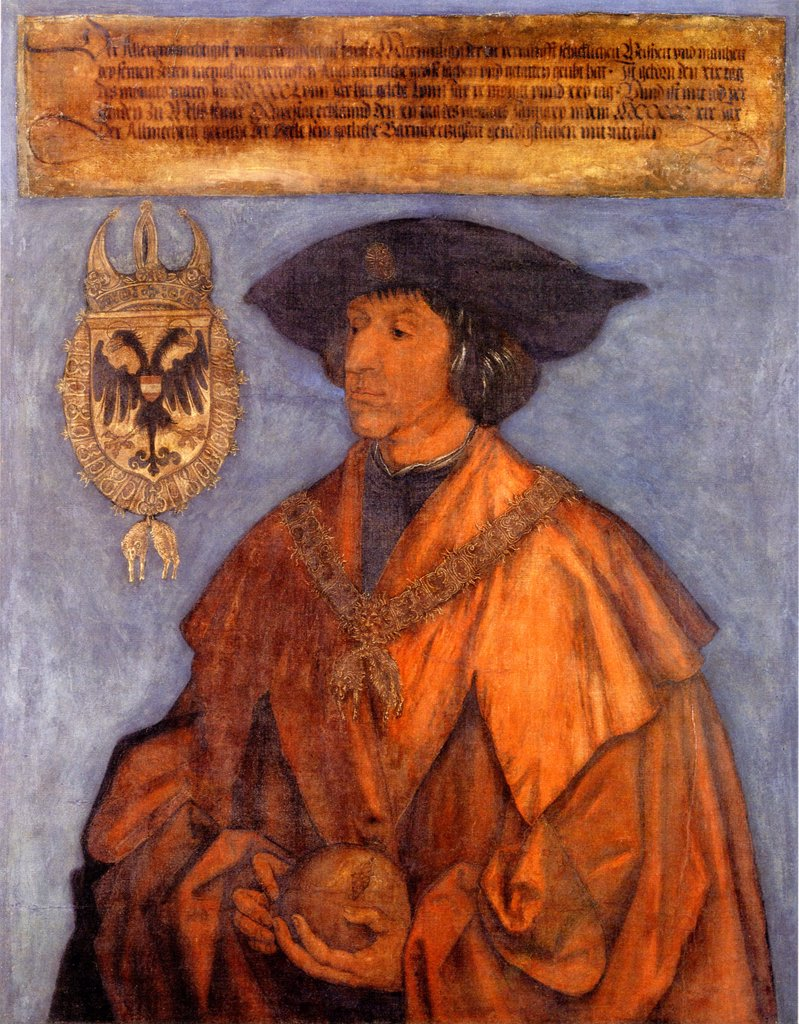 Maximilian I by Albrecht Durer, Oil on wood, circa 1512, 1471-1528, Germany, Nuremberg, Germanisches Nationalmuseum, 215x115, 3 : Stock Photo