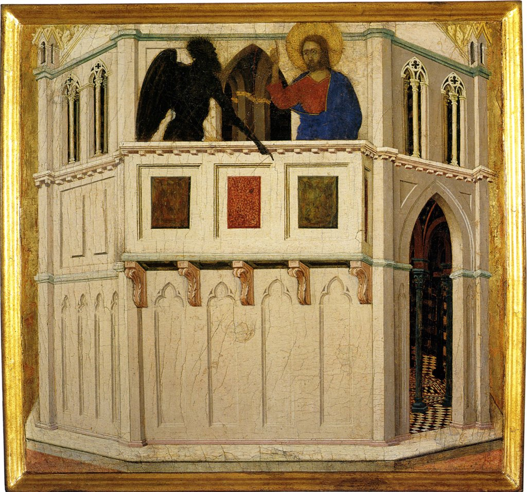 Stock Photo: 4266-4952 Jesus Christ and devil by Duccio di Buoninsegna, tempera on panel, circa 1308-1311, circa 1255-1319, Italy, Siena, Museo dell'Opera Metropolitana del Duomo, 48x50