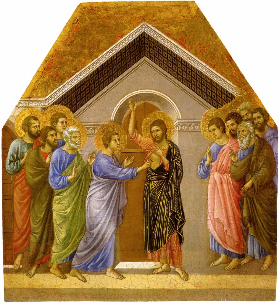 Stock Photo: 4266-4953 Incredulity of Saint Thomas by Duccio di Buoninsegna, tempera on panel, circa 1308-1311, circa 1255-1319, Italy, Siena, Museo dell'Opera Metropolitana del Duomo, 58x52, 7