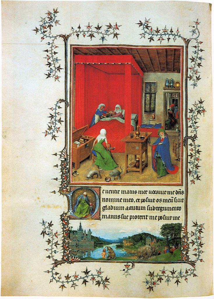Domestic life by Master of Turin-Milan Hours, watercolor on parchment, 1422-1424, active 1422–1424, Italy, Turin, Museo Civico d' Arte Antica, 28x19 : Stock Photo
