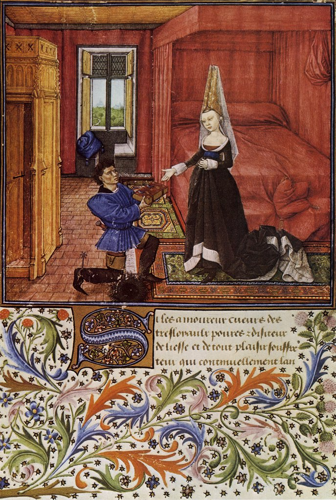 Kneeling man giving book to woman by Barthelemy van Eyck, tempera and gold on parchment, circa 1460, 1444-ca 1476, Austria, Vienna, Austrian National Library : Stock Photo