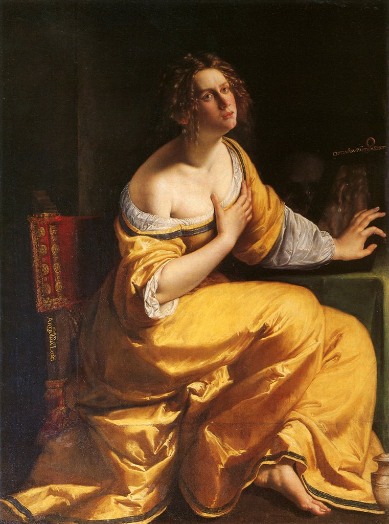 Stock Photo: 4266-4975 Illustration with Mary Magdalene by Artemisia Gentileschi, oil on canvas, 1620-1625, 1598-1653, Italy, Florence, Palazzo Pitti, 146x109