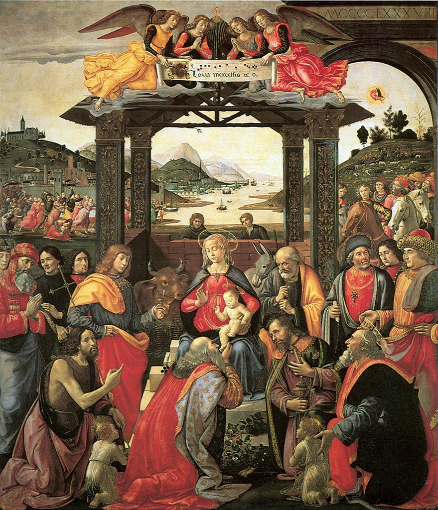 Stock Photo: 4266-4981 Adoration of Christ Child by Domenico Ghirlandaio, tempera on panel, 1488, 1449–1494, Italy, Florence, Ospedale degli Innocenti, 285x240