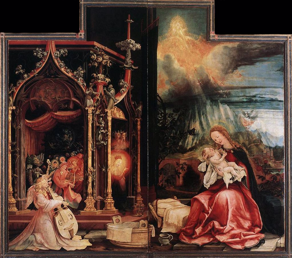 Stock Photo: 4266-4988 Religious illustration with Virgin Mary and Jesus Christ by Matthias Grunewald, tempera on panel, 1506-1515, circa 1470-1528, Colmar, Musee d'Unterlinden, 265x141