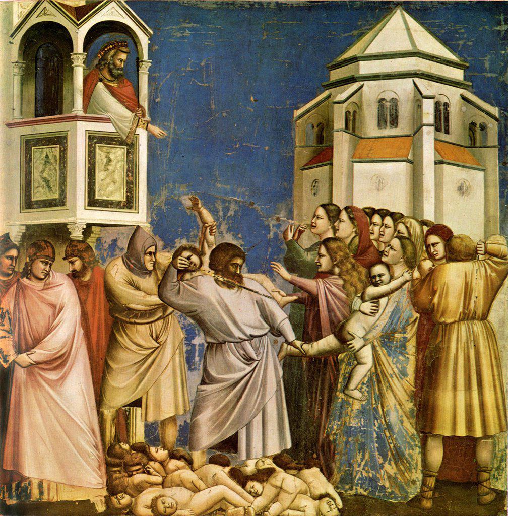 Murder of Children at Bethlehem by Giotto di Bondone, fresco, 1304-1306, 1266-1377, Italy, Padua, Cappella degli Scrovegni, 200x185 : Stock Photo