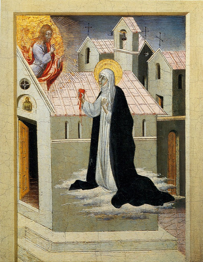 Stock Photo: 4266-5004 Saint Catherine of Sienna with Jesus Christ by Giovanni di Paolo, tempera on panel, 1461, circa 1403-1482, Private Collection, 28, 6x22, 9