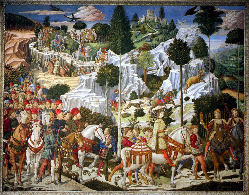 Benozzo Gozzoli, Fresco, 1459-1461, circa 1420-1497, Italy, Florence, Palazzo Medici-Riccardi : Stock Photo