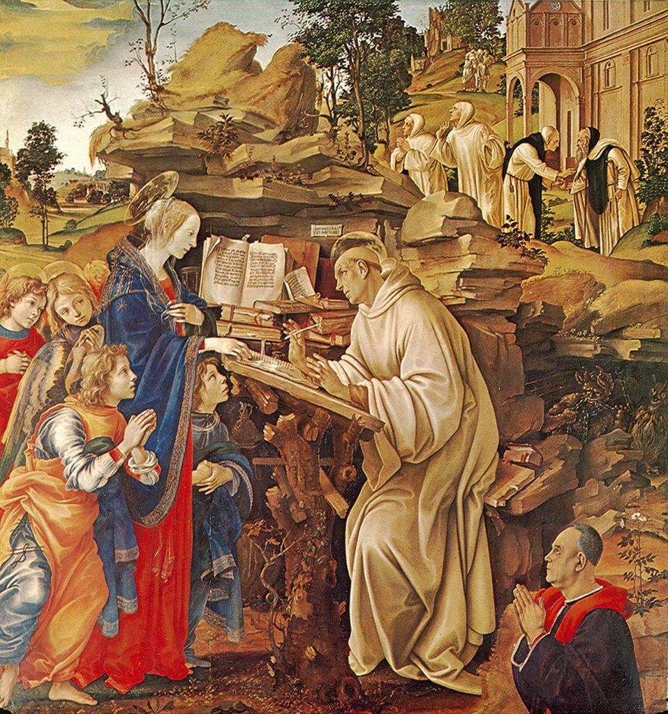 Stock Photo: 4266-5029 Religious illustration with Saint Bernard by Filippino Lippi, tempera on panel, circa 1490, 1457-1504, Italy, Florence, Badia Fiorentina
