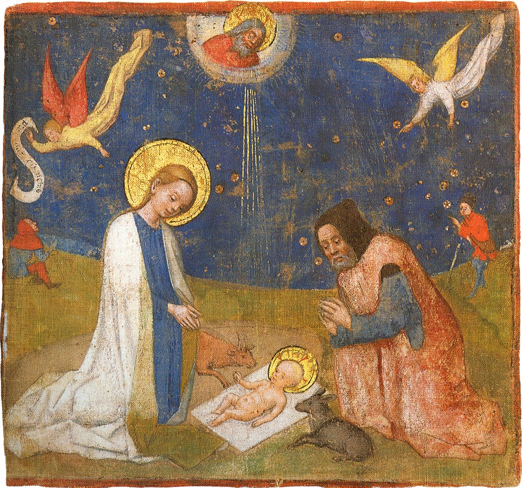 Stock Photo: 4266-5031 Nativity scene by Stephan Lochnerca, tempera on silk, circa 1440, 1400/10-1451, Germany, Cologne, Erzbischofliches Diozesanmuseum, 19, 2x20, 4