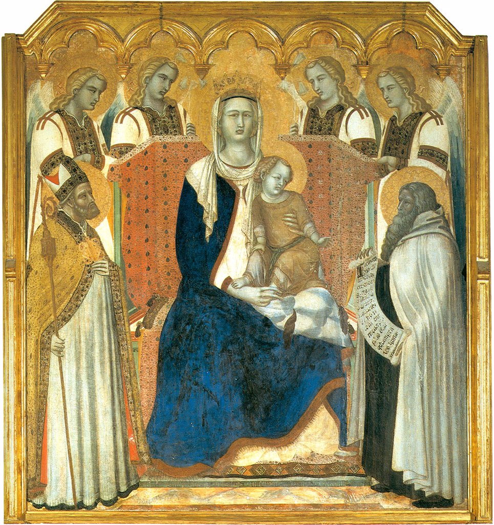 Stock Photo: 4266-5035 Virgin Mary with Jesus Christ, saints and angels by Pietro Lorenzetti, tempera on panel, 1329, circa 1300-circa 1348, Italy, Siena, Pinacoteca Nazionale, 171x161