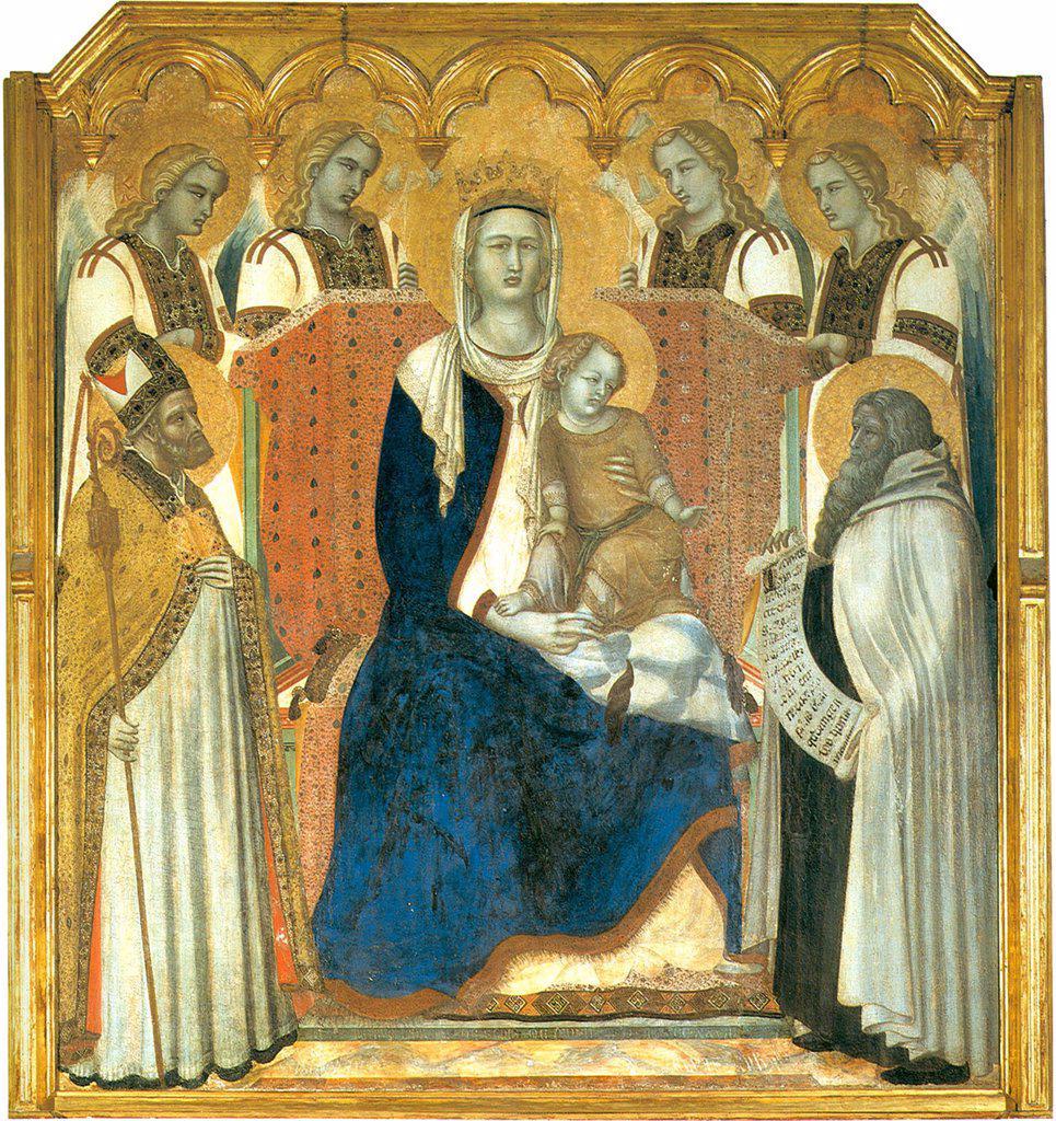 Virgin Mary with Jesus Christ, saints and angels by Pietro Lorenzetti, tempera on panel, 1329, circa 1300-circa 1348, Italy, Siena, Pinacoteca Nazionale, 171x161 : Stock Photo