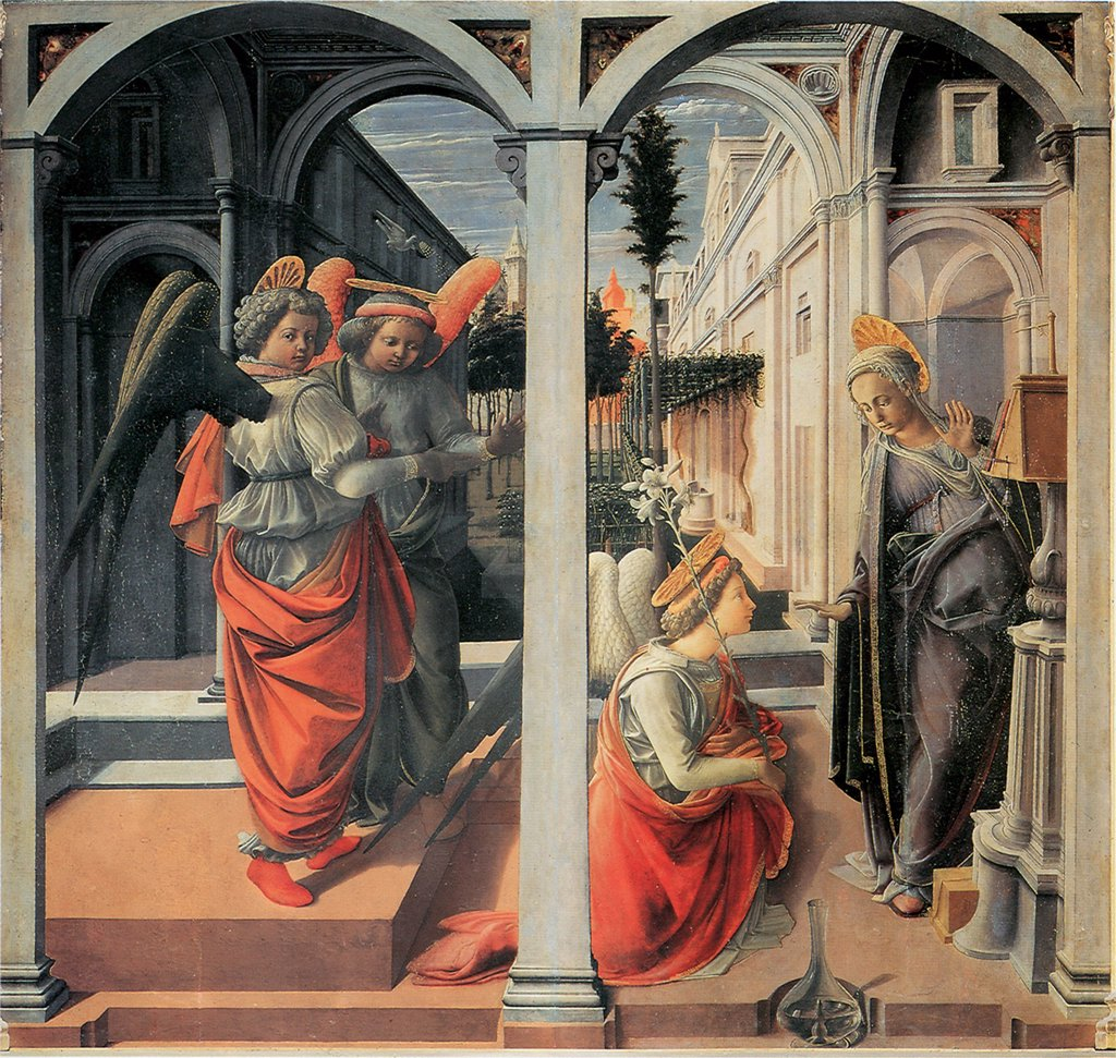 Annunciation by Fra Filippo Lippi, tempera on panel, circa 1440, 1406-1469, Italy, Florence, Basilica di San Lorenzo, 175x183 : Stock Photo