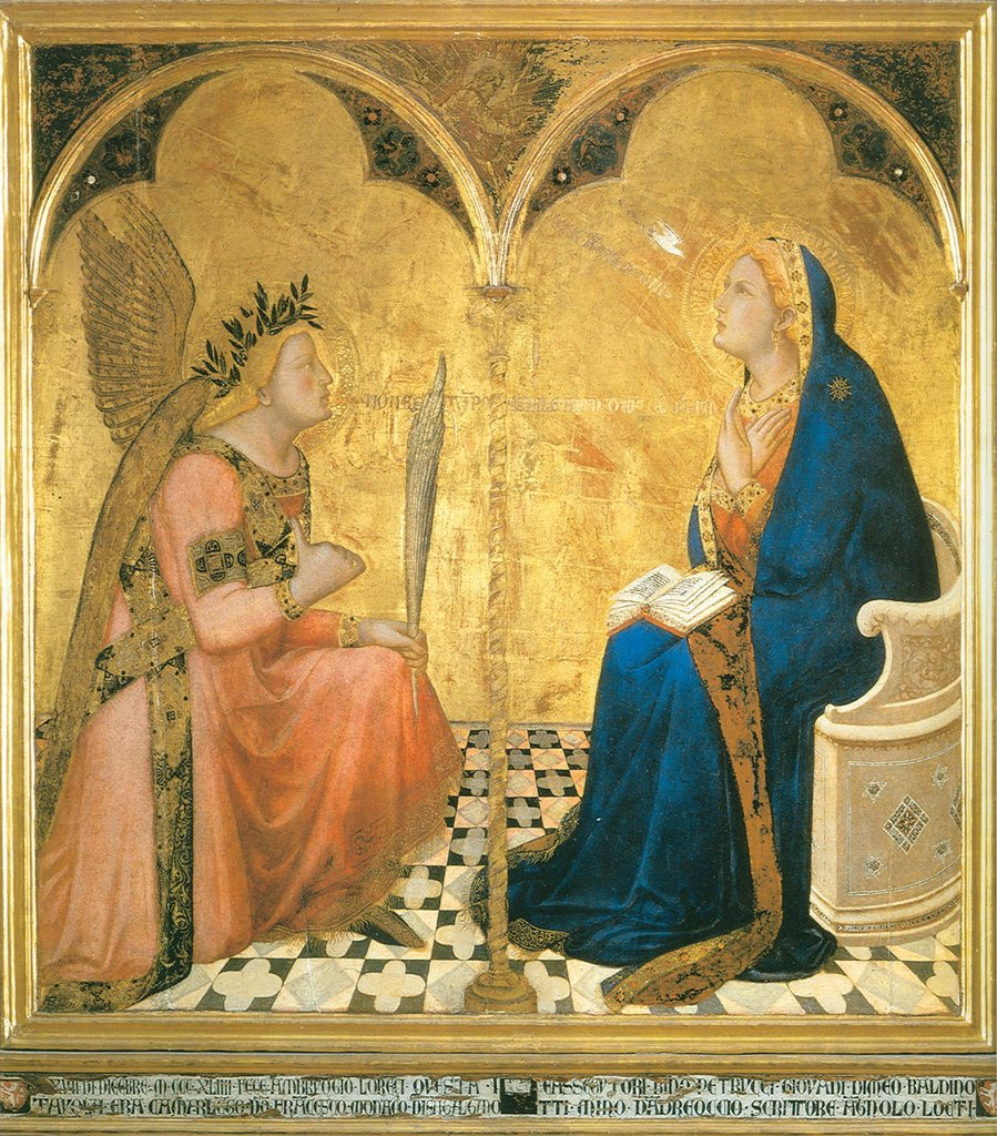 Stock Photo: 4266-5048 Annunciation by Ambrogio Lorenzetti, tempera on panel, 1344, circa 1290-circa 1348, Italy, Siena, Pinacoteca Nazionale