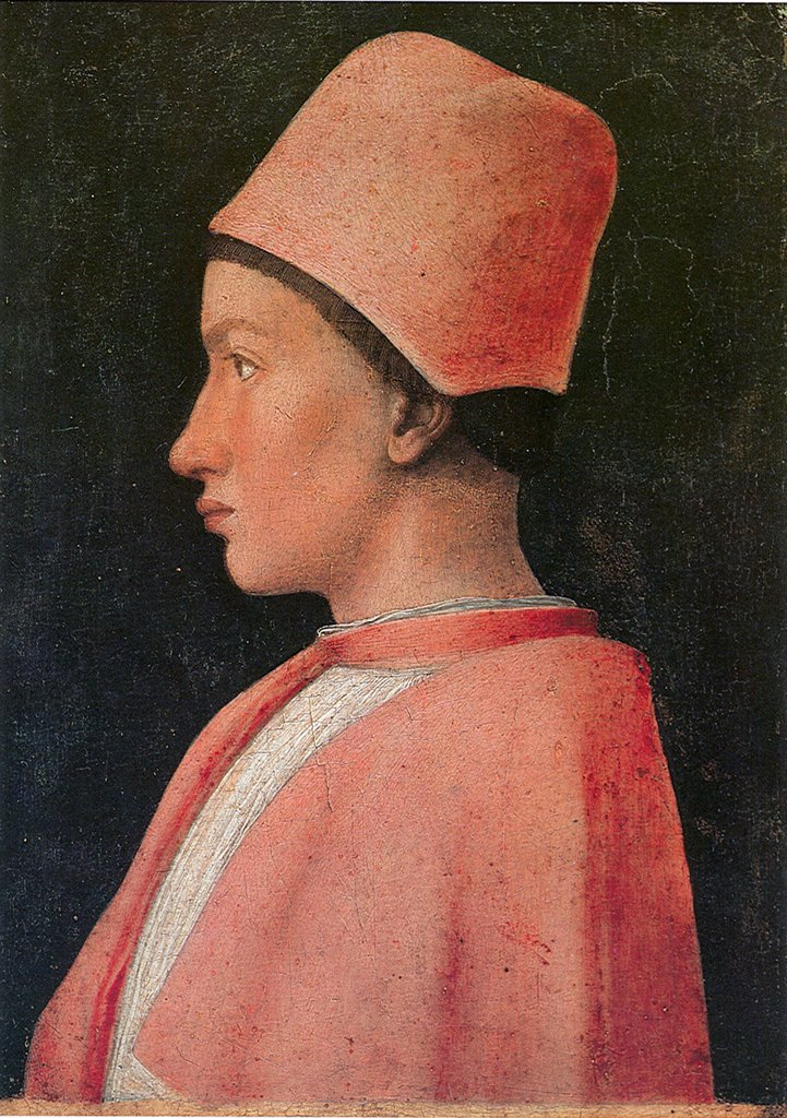Stock Photo: 4266-5053 Portrait of cardinal Francesco Gonzaga by Andrea Mantegna, tempera on panel, 1461, 1431-1506, Italy, Naples, Museo di Capodimonte, 25, 5x18