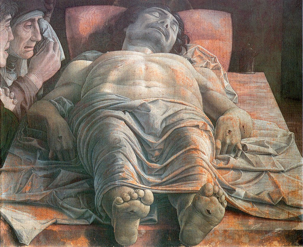 Stock Photo: 4266-5054 Dead body of Jesus Christ by Andrea Mantegna, tempera on canvas, circa 1490, 1431-1506, Italy, Milan, Pinacoteca di Brera, 68x81