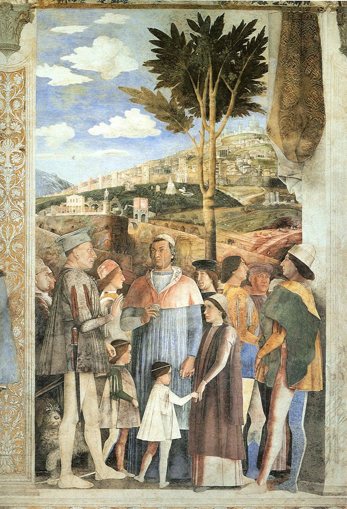 Stock Photo: 4266-5055 Illustration with Ludovicio Gonzaga and Francesco Gonzaga by Andrea Mantegna, fresco, 1474, 1431-1506, Italy, Mantua, Palazzo Ducale