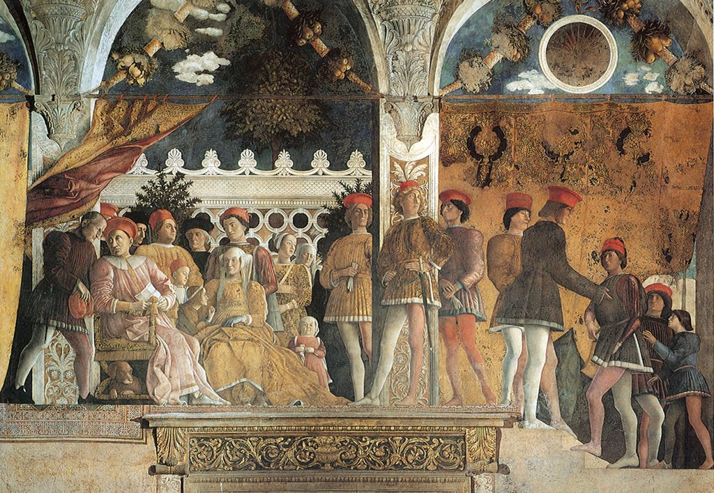 Illustration with italian aristocracy Francesco Gonzaga and Ludovicio Gonzaga by Andrea Mantegna, fresco, 1474, 1431-1506, Italy, Mantua, Palazzo Ducale : Stock Photo
