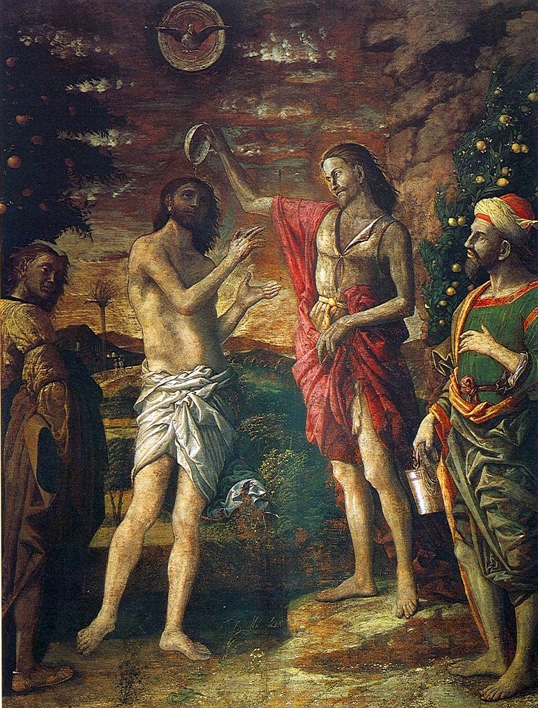 Stock Photo: 4266-5058 Baptism of Jesus Christ by Andrea Mantegna, tempera on canvas, circa 1505, 1431-1506, Italy, Mantua, Basilica di Sant'Andrea, Cappella del Mantegna, 176x230