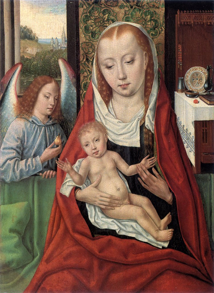 Virgin Mary with Jesus Christ as child and angel by Master of the legend of St. Ursula, oil on wood, circa 1490-1495, active circa 1485, Private Collection, 36x27 : Stock Photo
