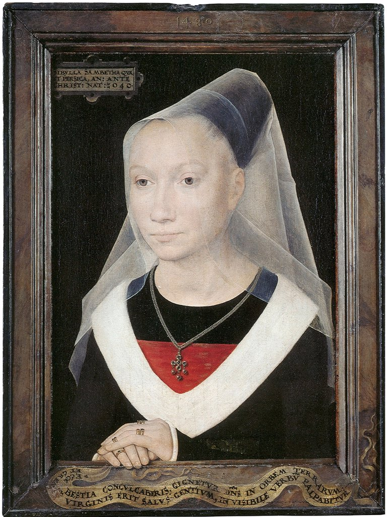 Stock Photo: 4266-5076 Portrait of woman by Hans Memling, oil on wood, circa 1480, 1433/40-1494, Belgium, Bruges, Memlingmuseum, 38x26, 5