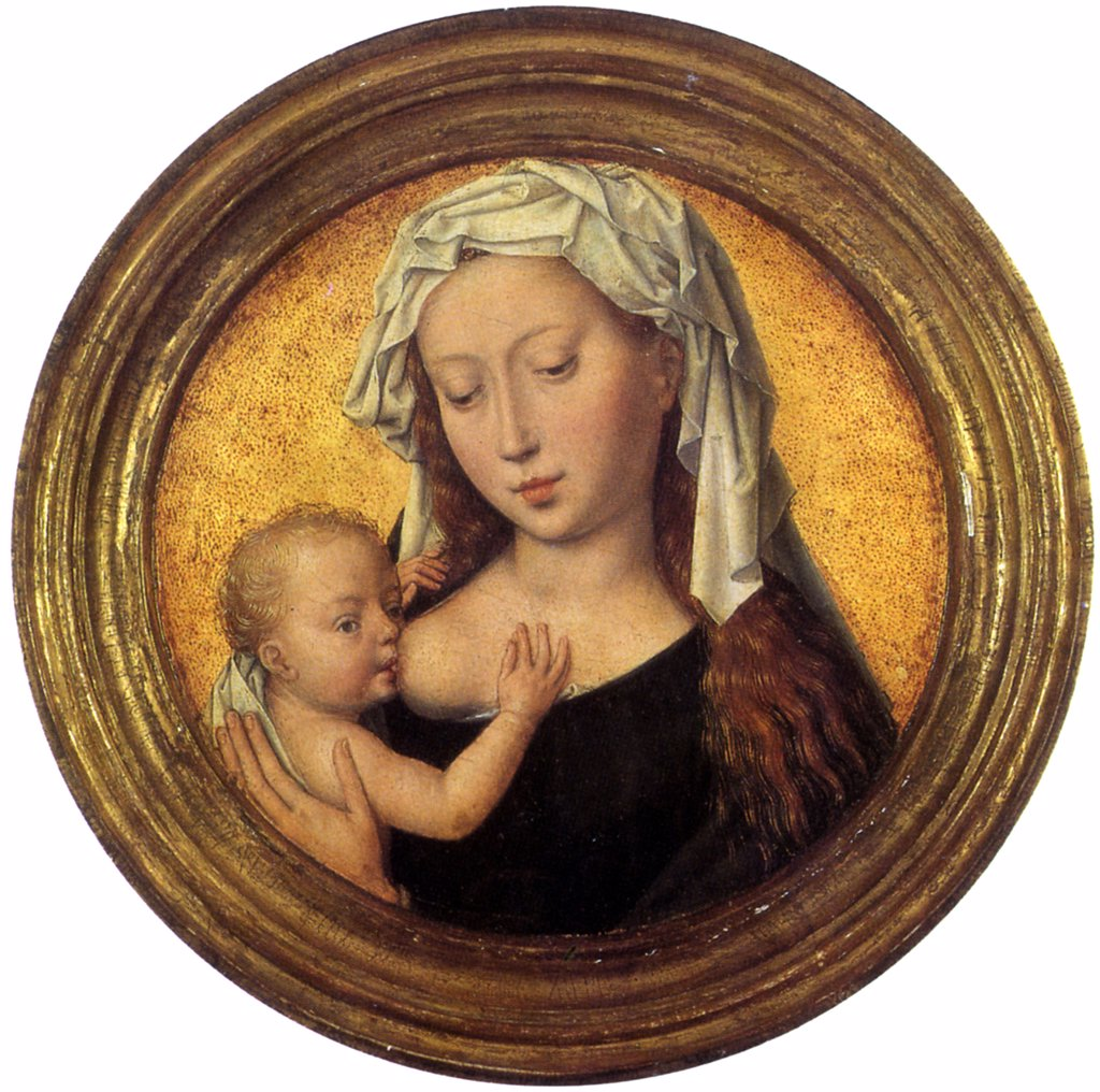 Stock Photo: 4266-5078 Circle religious illustration with Virgin Mary and Jesus Christ by Hans Memling, oil on wood, circa 1490, 1433/40-1494, Private Collection, D 18