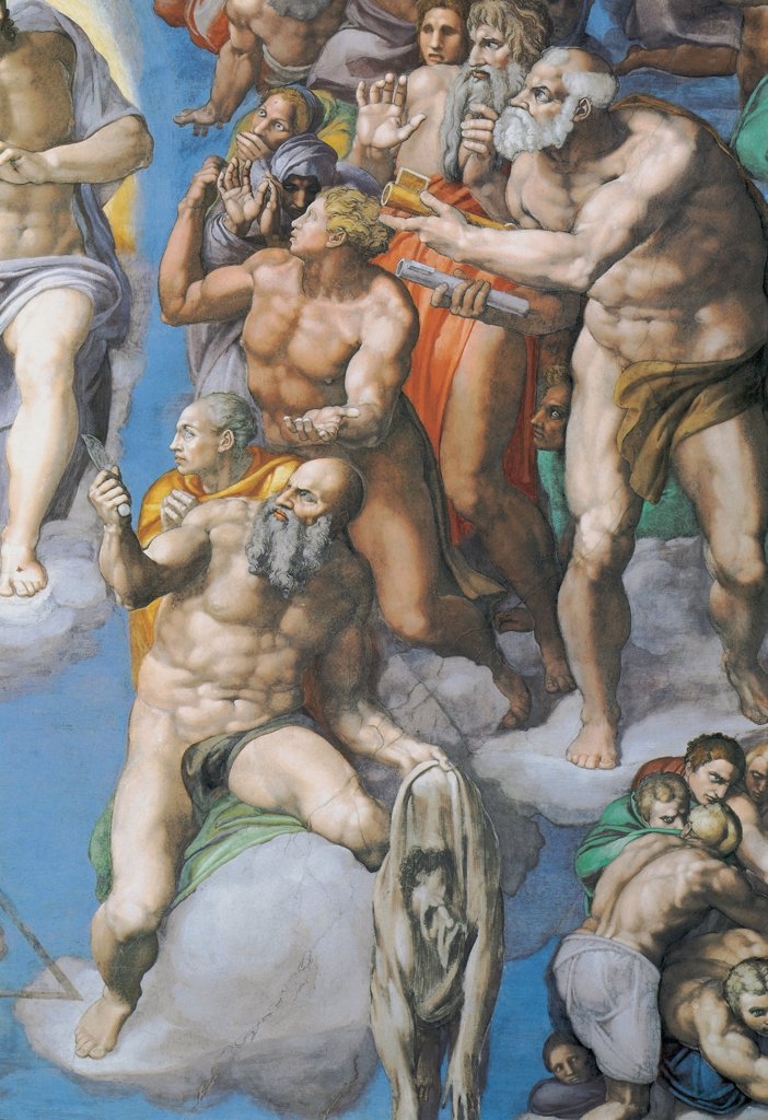 Stock Photo: 4266-5080 Judgment Day by Michelangelo Buonarroti, fresco, 1541, 1475-1564, Vatican, The Sistine Chapel