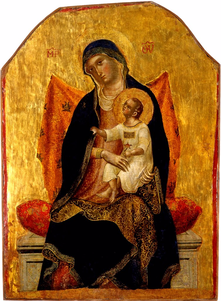 Stock Photo: 4266-5084 Virgin Mary with Jesus Christ as child by Paolo Veneziano, tempera on panel, circa 1340, circa 1330-circa 1360, Italy, Padua, Museo Diocesano, 73x51