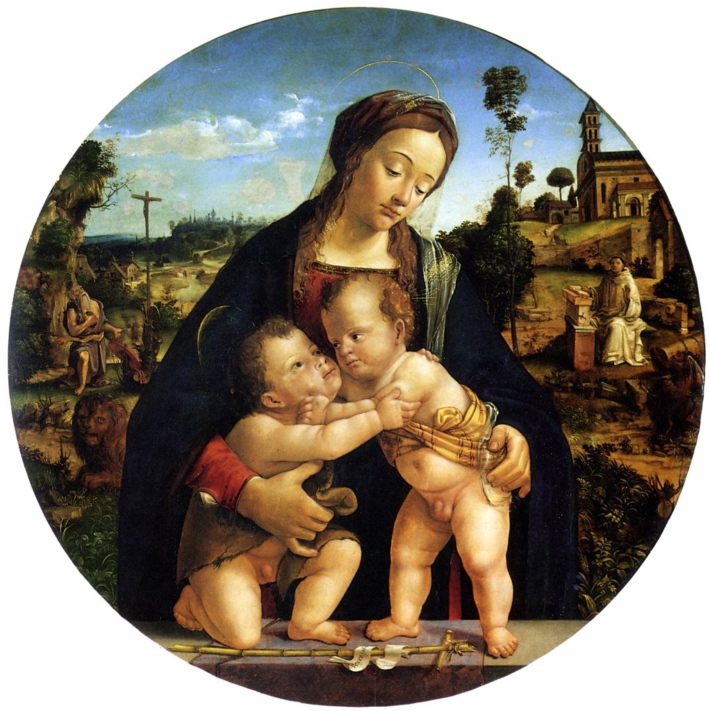 Stock Photo: 4266-5099 Virgin Mary with Jesus Christ and Saint John as children by Piero di Cosimo, oil on wood, circa 1500, circa 1462-circa 1521, France, Strasbourg, Musee des Beaux-Arts, D 93