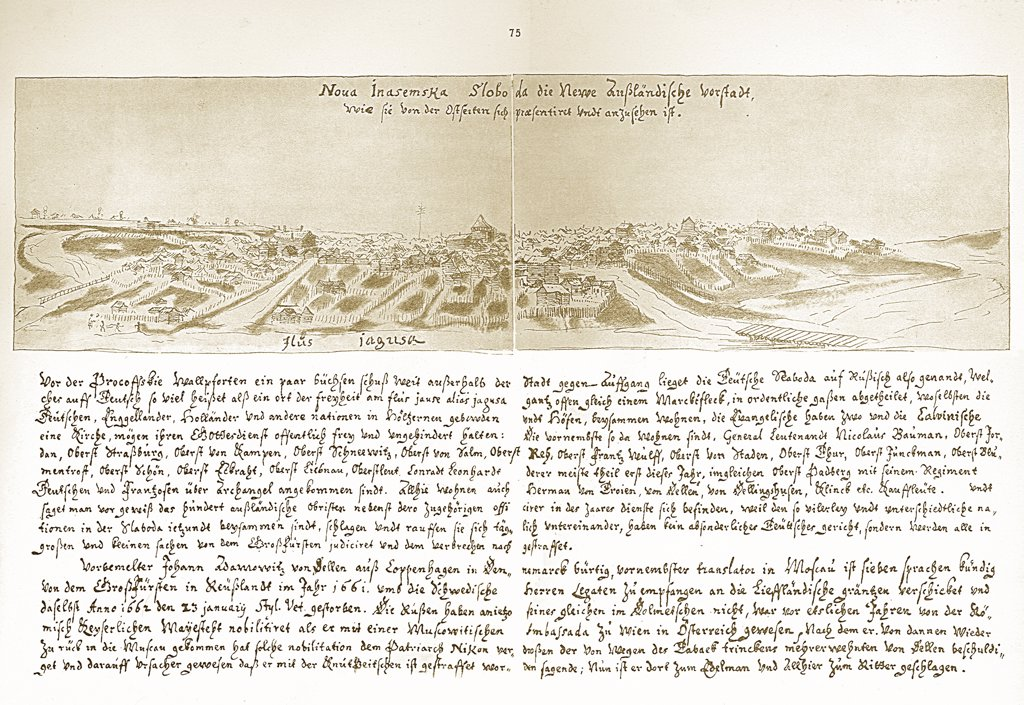 Stock Photo: 4266-5159 Illustration with landscape and text by Augustin von Meierberg, copper engraving, 1660s-1670s, 1612–1688, Private Collection